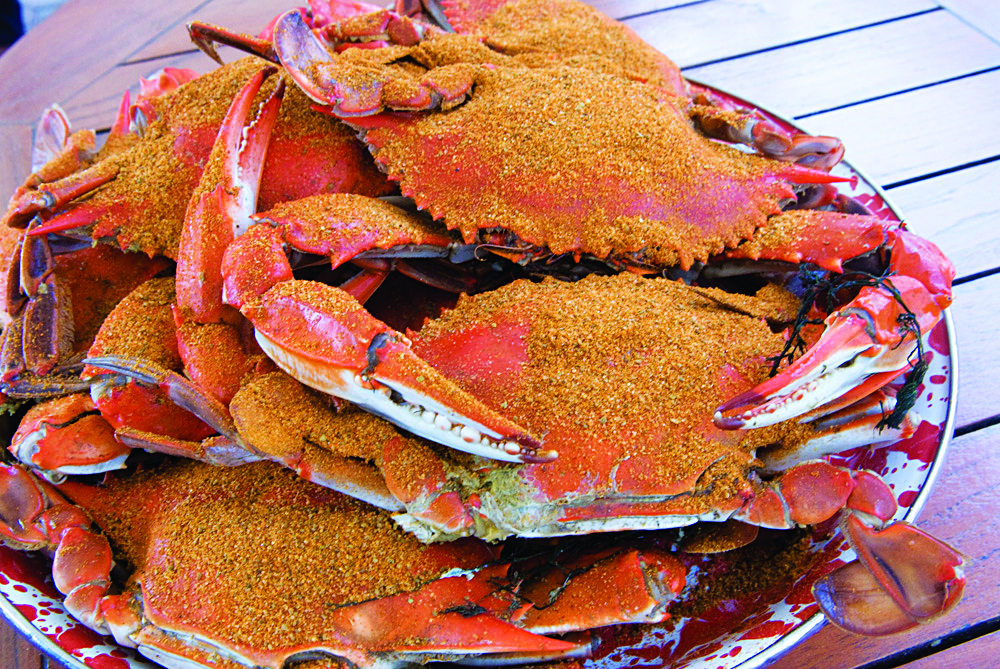 Fresh crabs are served up steamed and seasoned