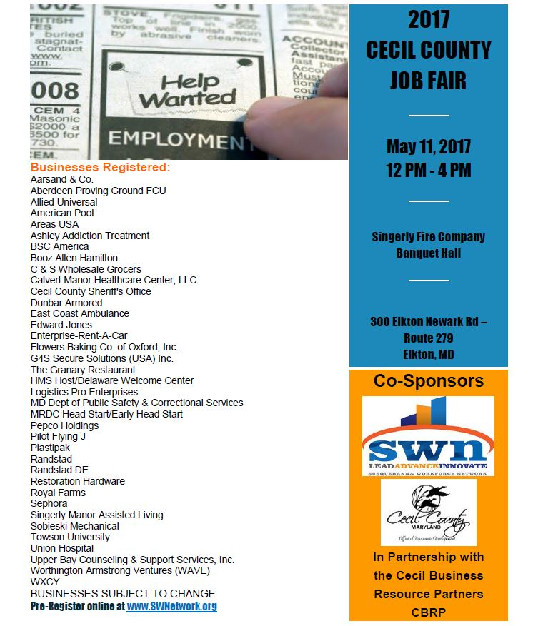 2017 Cecil County Job Fair Flier