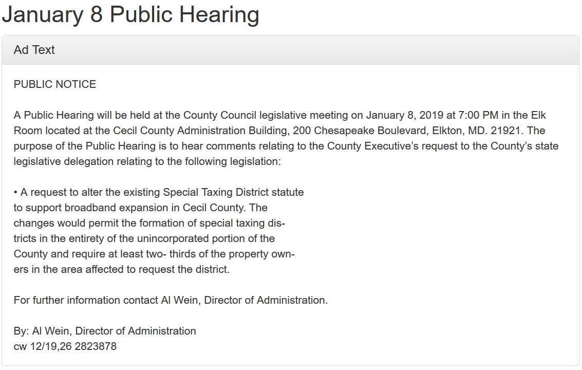 public hearing special taxing district
