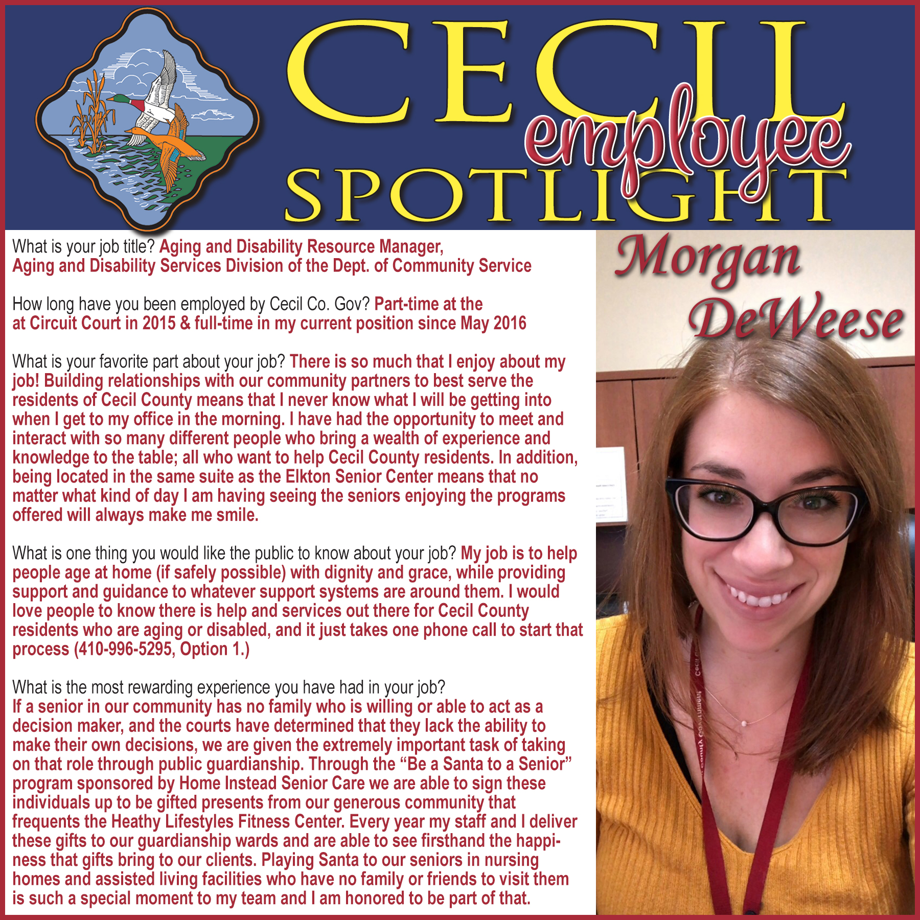Cecil Employee Spotlight: Aging and Disability Resource Manager Morgan DeWeese