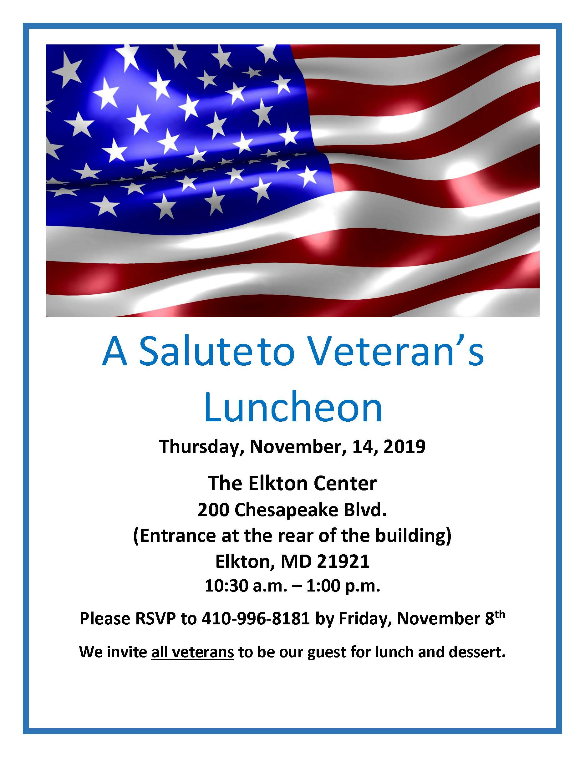 2019 Salute to Veteran's flyer