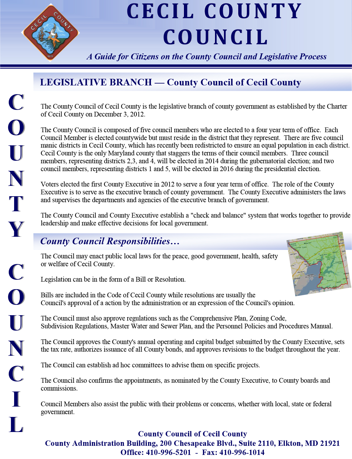 Responsibilities of the Cecil County Council